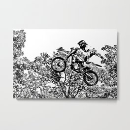 Stealing the Air - Freestyle Motocross Rider Metal Print