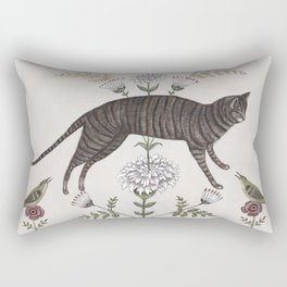 Brown Tabby with Birds Rectangular Pillow