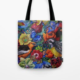 Feathered Foliage Bird Colored Pencil Drawing Tote Bag