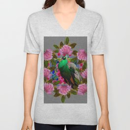 GREY COLOR PINK ROSES &  GREEN PEACOCK ART Unisex V-Neck