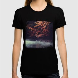 River Morning - Rising fog and tree in fall foliage at the river T-shirt