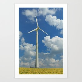 Wind Turbine Windmill in the Landscape with Yellow Colza Field and Blue Sky Art Print