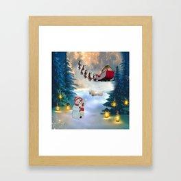 Christmas, snowman with Santa Claus Framed Art Print