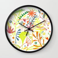 tropical Wall Clocks featuring Tropical by Nic Squirrell