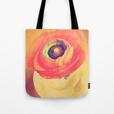 Orange Ranunculus Bold Vintage Botanical Water Color Effect Tote Bag