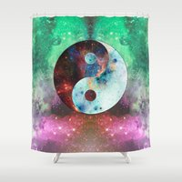 ying yang Shower Curtains featuring Ying-Yang Galaxy by FC Design