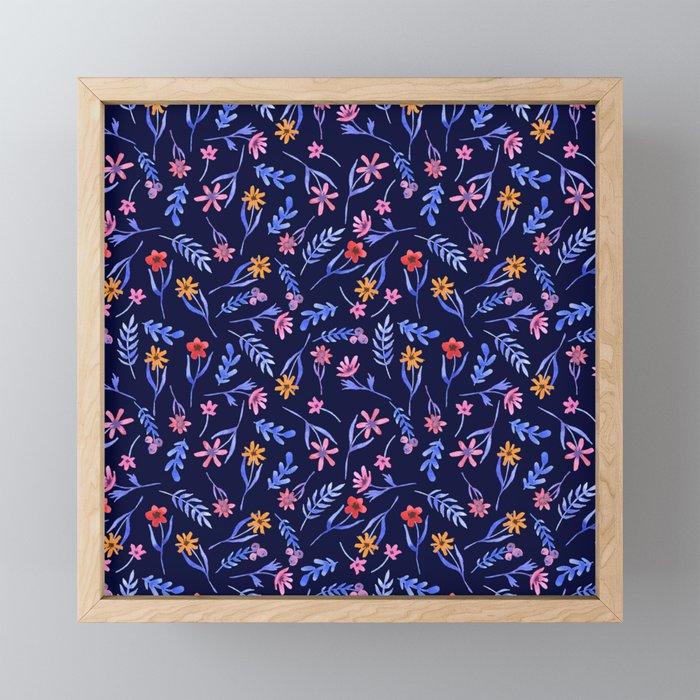 Blue Watercolor Floral Pattern Framed Mini Art Print
