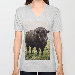 Big Black Angus Bull Unisex V-Neck