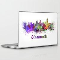 cincinnati Laptop & iPad Skins featuring Cincinnati skyline in watercolor by Paulrommer