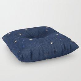 Good night - Leaf Gold Stars on Dark Blue Background Floor Pillow