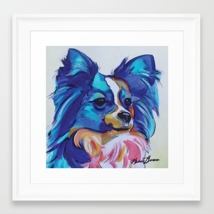 Papillon Pop Art Dog Portrait Framed Art Print By Karrengarcespetart Society6