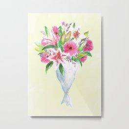 Pink Floral Selection Metal Print