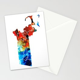 Massachusetts - Map Counties By Sharon Cummings Stationery Cards