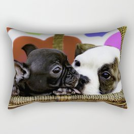 English Bulldog Puppy Kissing a French Bulldog Puppy Rectangular Pillow