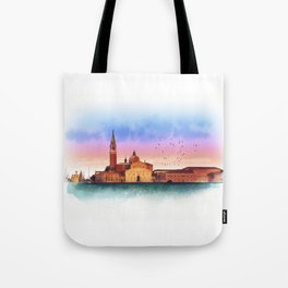 Soft watercolor sunset with views of San Giorgio island, Venice, Italy. Tote Bag