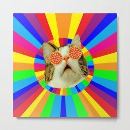 pizza loving cat Metal Print
