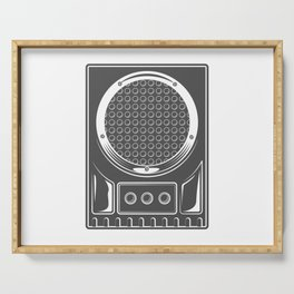 Vintage music concert audio loudspeaker in monochrome style illustration Serving Tray
