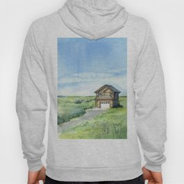 Sky and Grass Landscape Watercolor Hoody