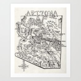 Hand-Drawn Arizona Map Art Print