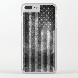 Black and White USA Flag in Grunge Clear iPhone Case