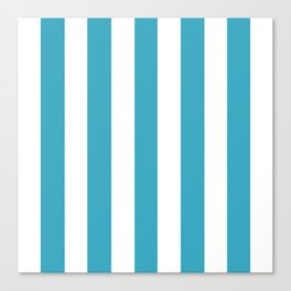 Moonstone turquoise - solid color - white vertical lines pattern Canvas Print