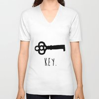 key V-neck T-shirts featuring Key. by Ida Christine