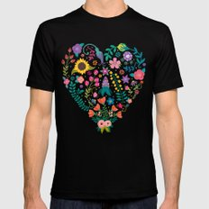 Floral Heart MEDIUM Mens Fitted Tee Black