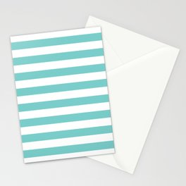 Horizontal Aqua Stripes Stationery Cards