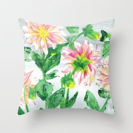 Dahlias on a cloudy day Throw Pillow