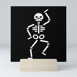 Dancing skeleton abstract drawing Mini Art Print