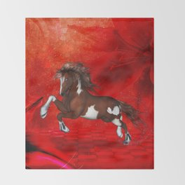 Beautiful wild horse Throw Blanket
