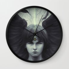 Eye of Raven Wall Clock