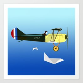 Curtiss Jenny JN 4D pioneer of flight Ameli Lost poster vintage aircraft sky and clouds air picture Art Print