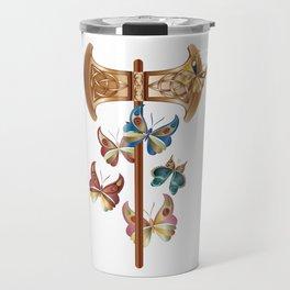 Double Headed Axe Labrys & Butterflies - Transformation Travel Mug