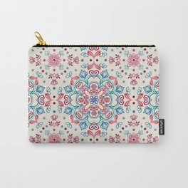 Pastel Blue, Pink & Red Watercolor Floral Pattern on Cream Carry-All Pouch