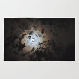 Full Moon On A Dark Cloudy Summer Night Rug