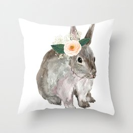 bunny with flower crown Throw Pillow