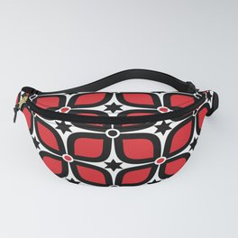 Mid Century Modern 4 Leaf Clover - Black, White, Red Fanny Pack