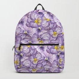 Watercolor floral pattern with violet pansies Backpack
