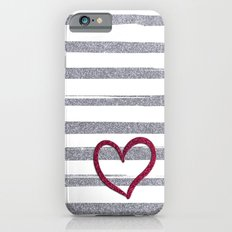 Red Heart on Shiny Silver Stripes iPhone 6 Slim Case