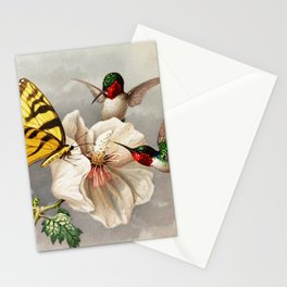 Ruby-throated Hummingbirds & Butterfly Portrait Stationery Cards