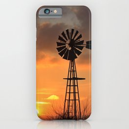 Kansas Golden Sky with a Windmill Silhouette out in the country. iPhone Case