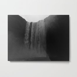 A human infront of Skógafoss Waterfall in Iceland Black and white Metal Print