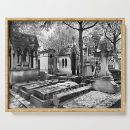Père Lachaise Cemetery in Black and White, Paris France Serving Tray