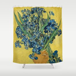Still Life: Vase with Irises Against a Yellow Background Shower Curtain