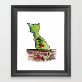 Reflective Zombie Cat Framed Art Print