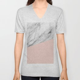 Marble and Pale Dogwood Color Unisex V-Neck