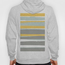Stripe Abstract, Sun and Beach, Yellow, Pale, Aqua Blue and Gray Hoody