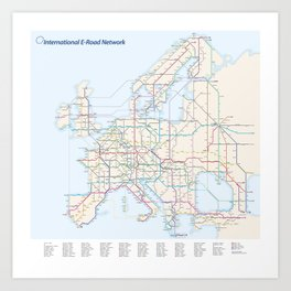 International E-Road Network Art Print