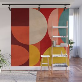 shapes of red mid century art Wall Mural
